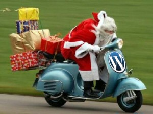 Santa on a Scooter with a WordPress logo